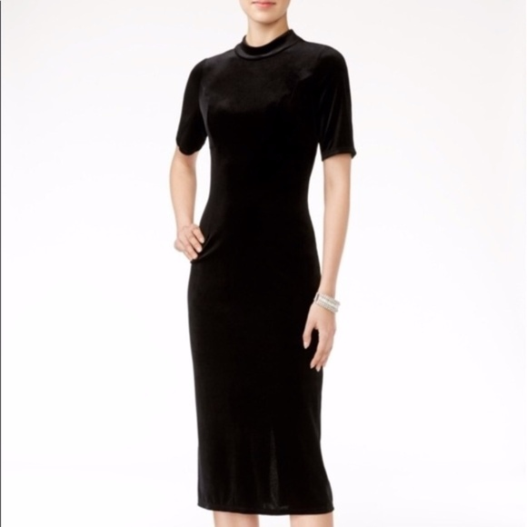 Zara Dresses & Skirts - Zara Mock Velvet Black Midi Dress